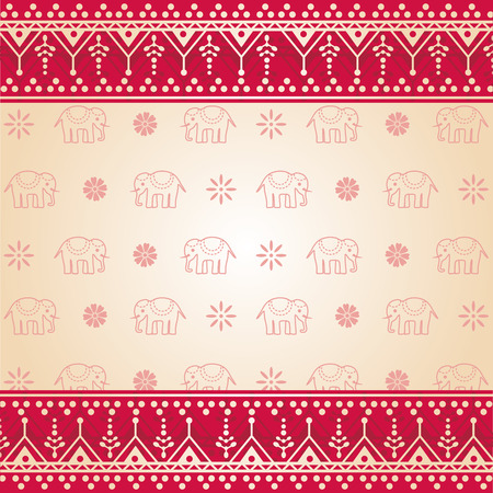 Traditional red and cream Asian henna and elephant design background Illustration