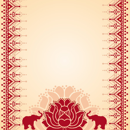 Traditional red and cream Asian lotus and elephant henna design with space for text