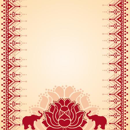 Traditionele rode en room Aziatische lotus en olifant henna ontwerp met ruimte voor tekst