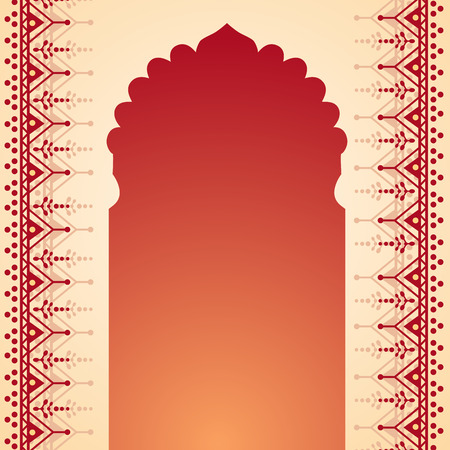 Traditional Indian temple gate banner with henna design borders and space for text