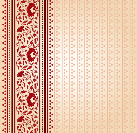 saree: Traditional red and cream floral Indian saree design background Illustration