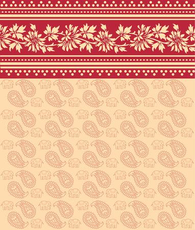 saree: Traditional red floral Indian saree design background