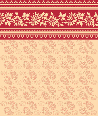 Traditionele rode bloemen Indiase saree design achtergrond