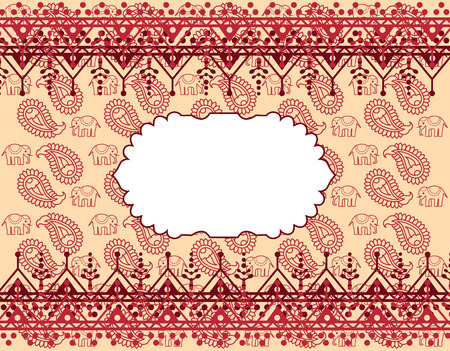 Traditional Asian paisley and elephant design background with henna borders and space for text Vector