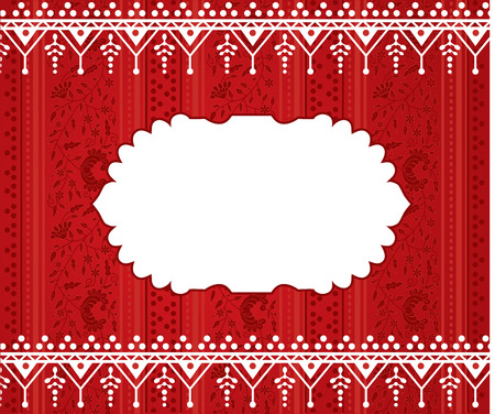 bollywood: Traditional red oriental floral wallpaper with henna borders and space for text