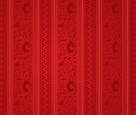 red wallpaper: Classical red floral wallpaper background Illustration