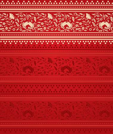 Traditional red floral Indian saree design background