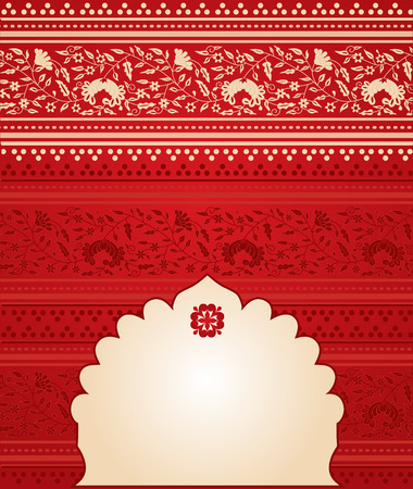 saree: Red floral Indian saree background with banner for text