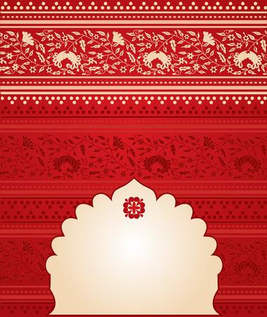 Rode bloemen Indiase saree achtergrond met banner voor tekst