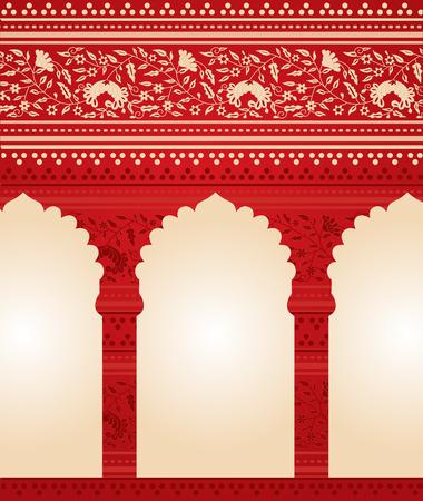 sien: Tradicional rojo indio fondo floral templo