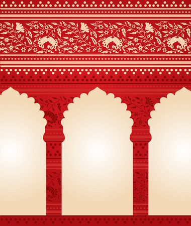 columns: Traditional red Indian floral temple background