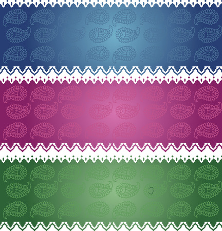 east indian: Colorful horizontal banners with oriental paisley design Illustration