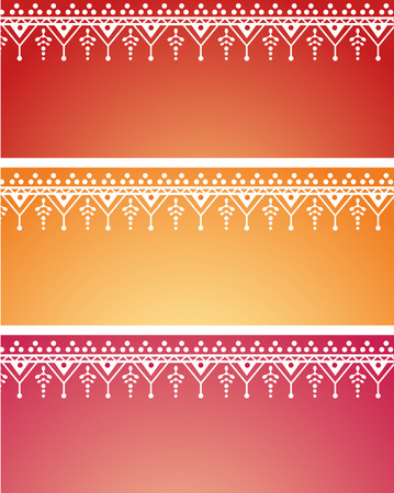 red indian: Set of 3 colorful Asian henna banners