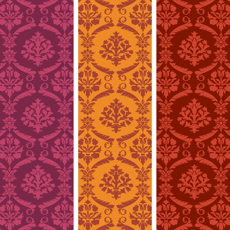 Colorful vertical banners in classical damask wallpaper style Vector