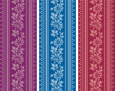 Colorful horizontal banners in classical floral style