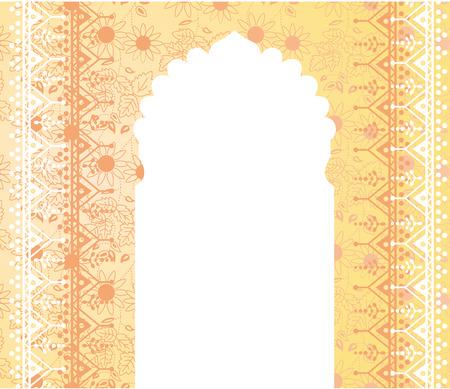 bollywood: Fondo amarillo tradicional de la India con la puerta del templo y el espacio para el texto Vectores