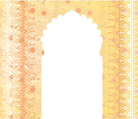 tempels: Traditionele gele Indische achtergrond met tempel deur en ruimte voor tekst Stock Illustratie