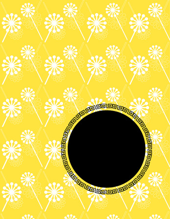 Traditional Asian yellow dandelion design book cover or flyer with space for text Vector