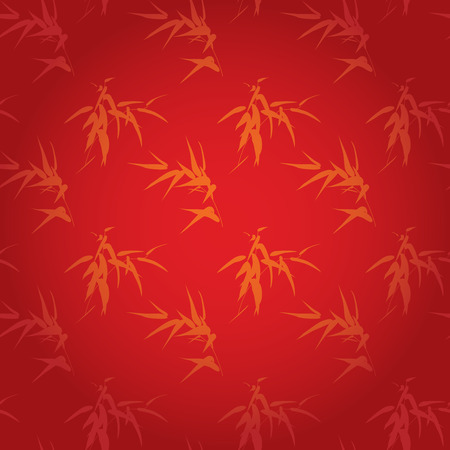 Traditional red and gold Chinese bamboo seamless wallpaper