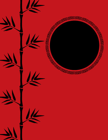 lucky bamboo: Red and black traditional Chinese bamboo card design with space for text Illustration
