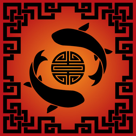 Traditional Asian red and black koi carp fish background