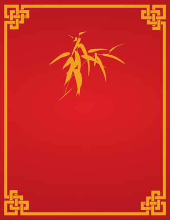 lucky bamboo: Traditional Asian red and gold bamboo design book cover or flier with space for text
