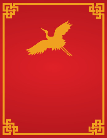Traditional Asian red and gold flying crane design book cover or flier with space for text