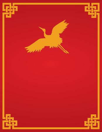 Traditionele Aziatische rood en goud vliegende kraan ontwerp cover van het boek of folder met ruimte voor tekst