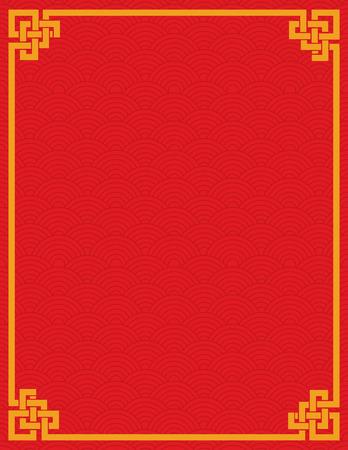 nudos: Patr�n de onda cubierta tradicional asi�tica rojo y oro libro de dise�o o volante con espacio para texto