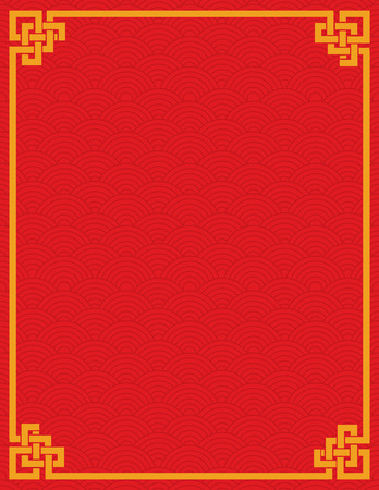 corners: Traditional Asian red and gold wave pattern design book cover or flier with space for text