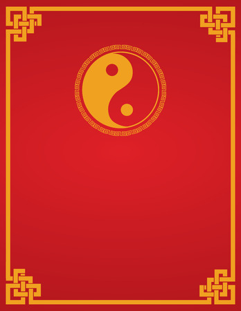 red book: Traditional Asian red and gold yin yang symbol design book cover or flier with space for text