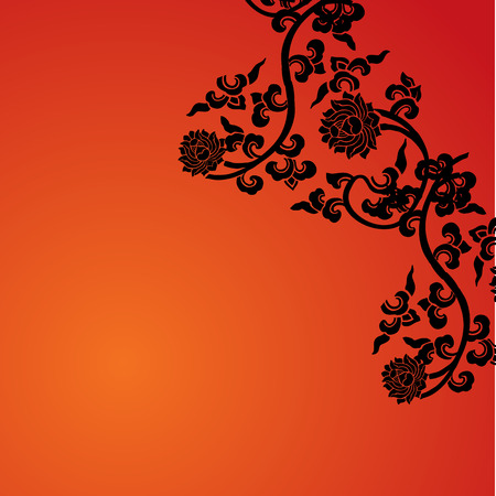 Traditional Chinese lotus pattern card design with space for text Illustration