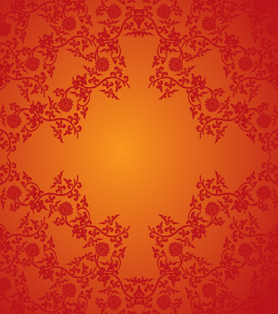 Traditional red Chinese lotus pattern frame with space for text