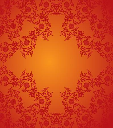 Traditionele rode Chinese lotus patroon frame met ruimte voor tekst