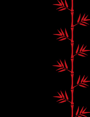 lucky bamboo: Chinese red bamboo border on black background with space for text