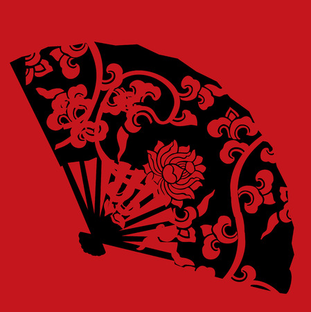 Asian black fan with red traditional lotus pattern