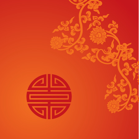 Traditional Chinese lotus and symbol red background