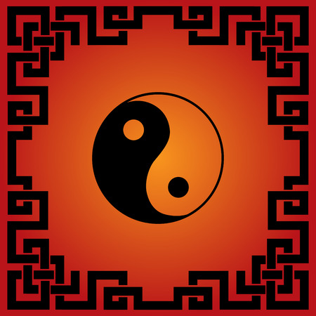 Traditional Chinese red and black yin yang background