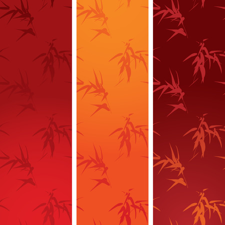 lucky bamboo: Set of 3 colorful traditional Chinese bamboo pattern vertical banners