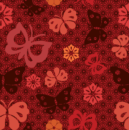 Asian seamless butterfly background with traditional Japanese flower pattern