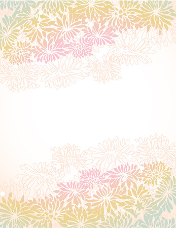 flower border pink: Colorful Asian chrysanthemum border design with space for text