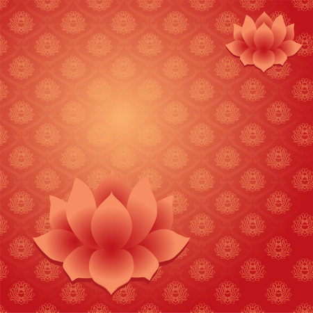 Traditional Asian pattern red wallpaper with lotus flowers