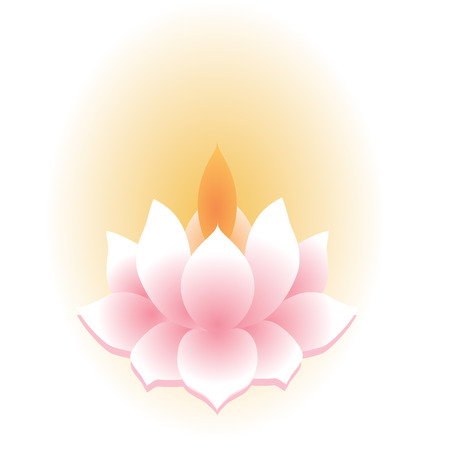 new age: Traditional Asian lotus lamp isolated on white Illustration