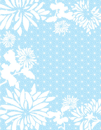 Asian chrysanthemum flowers on blue traditional Japanese pattern
