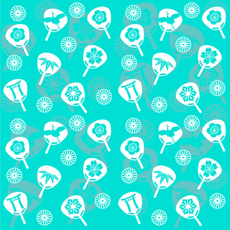 japanese fan: Traditional Japanese fan pattern seamless wallpaper