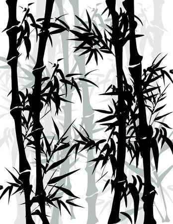 Traditionele Chinese schilderkunst stijl bamboe achtergrond Stock Illustratie