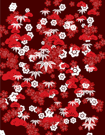 Traditional Japanese sakura cherry blossom and nature elements background design