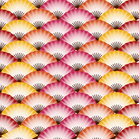 Traditional colorful Japanese fans pattern background Ilustracja