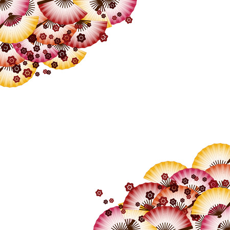Traditional Japanese fan and cherry blossom pattern border design with space for text Vector