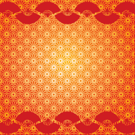 Traditional Japanese flower pattern background with red fan borders